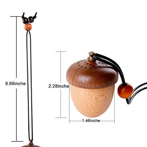 Car Diffuser For Rear View Mirror Hanging Wooden Acorn Essential Oil