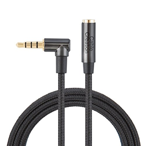 - Headphone Extension, CableCreation 1.5FT 3.5mm Male to Female TRRS Audio Stereo Cable,Right Angle Auxiliary HiFi Cable with Silver-Plating Copper,24K Gold Plated, (Microphone Compatible),Black
