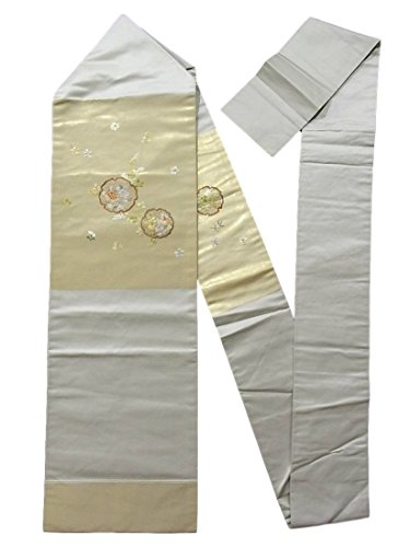 排他的無限トリクルリサイクル 名古屋帯  刺繍 雪輪に四季花 正絹