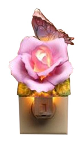 StealStreet SS-CG-2131 Lavender Rose with Yellow and Pink Butterfly Plug In Night Light