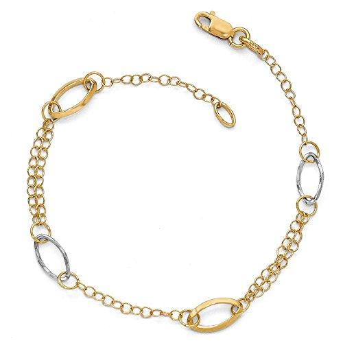 Or bicolore 14carats-Bracelet Femme-Lien Poli 20cm