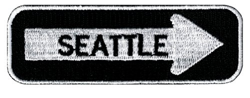 One Way Sign Seattle Washington Embroidered Patch Iron-On Highway Biker