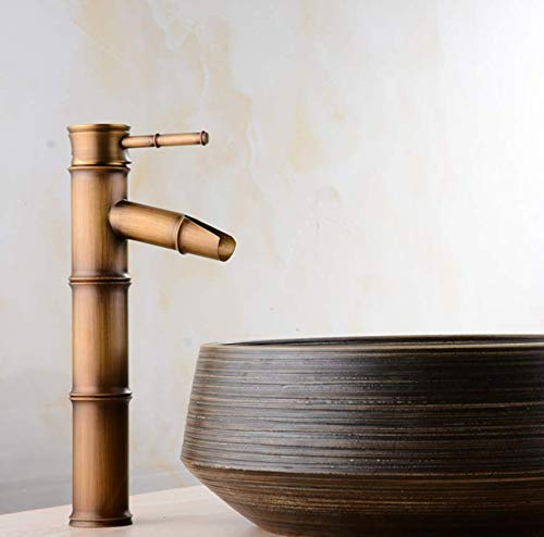 Oudan Taps Antique Bamboo Table Above Counter Basin Wash Basin Faucet Copper Faucet Hot And Cold Water Faucet Taps (color   -, Size   -)