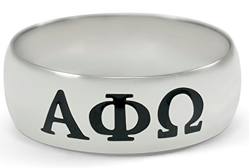 Alpha Phi Omega Fraternity Sterling Silver Wide Band Ring with Black Enamel Greek Letters