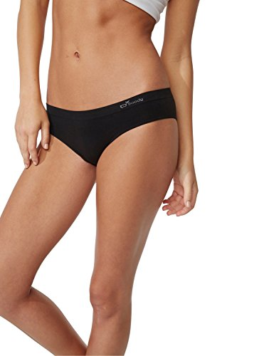 Boody Body EcoWear Women's Hipster Bikini Briefs Seamless Low Hip Style Underwear Made From Natural Organic Bamboo – Soft Breathable Eco Fashion For Sensitive Skin - Black, Large