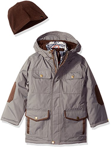 Hawke & Co Little Boys' Parka With Print Vestee and Berber Lined Collar, Smoked Pearl, 6 (Storm Parka Lined)