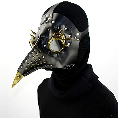 GPAN Plague Doctor Mask Halloween mask Birds Long Nose Beak Premium Leather Steampunk Halloween Costume]()