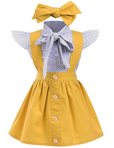 - YOUNGER TREE Toddler Girl Outfits 1-4 T Long Sleeve Shirt Overall Skirt Headband Set School Uniform Dress (Sleeveless Blouse + Yellow Suspender Skirt Headband 3PC, 2 Years Old)