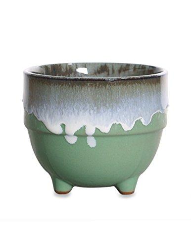 Dahlia Paint Drip Glazed Ceramic Succulent Planter/ Plant Pot/ Flower Pot/ Bonsai Pot, Green Cup - Glazed Bonsai Pot