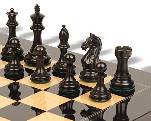Fierce Knight Staunton Chess Set Ebonized & Boxwood Pieces with Black & Ash Burl Chess Board - 3