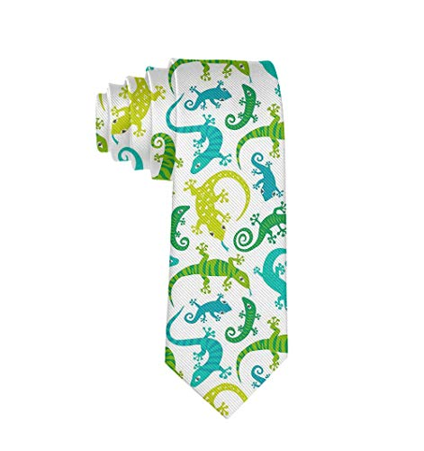 Men Date Gifts Novelty Polyester Textile Necktie Silkly Smooth Soft Cute Lizards Animals Neck Ties Great For Weddings Party Groom Groomsmen Dances