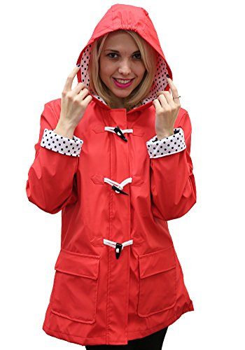 - Women's Apparel No. 5 Hooded Toggle Rain Coat, Red XL