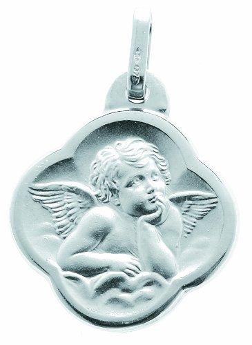 Diamantly - Médaille or 375/1000Gris Ange Mat Forme Trefle - Bijoux or 375/1000Rhodiè 375/1000 (9 Carats) - Unisex - Enfant -Bebe-Adulte