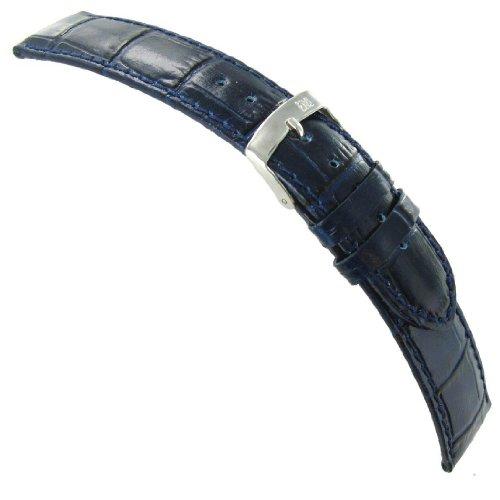 Alligator Italian Grain Leather - 22mm Morellato Samba Italian Leather Alligator Grain Navy Blue Watch Band 2704