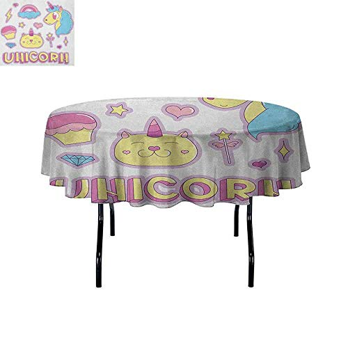 - Unicorn Cat Printed Tablecloth Collection Fantastic Icons Magic Horse Kitten Cupcake Rainbow Desktop Protection pad D47 Inch Sky Blue Pink Pale Yellow