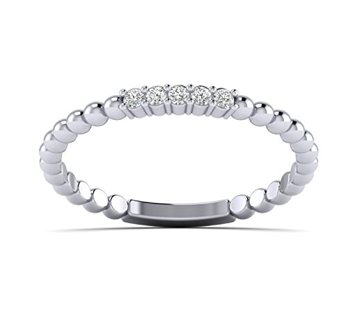 Fehu Jewel 0.07cts Natural Diamond Gold Over Sterling Silver Fashion Diamond Eternity Ring for Your Love (White-Gold-Plated-Silver, (Diamond Silver Eternity Ring)