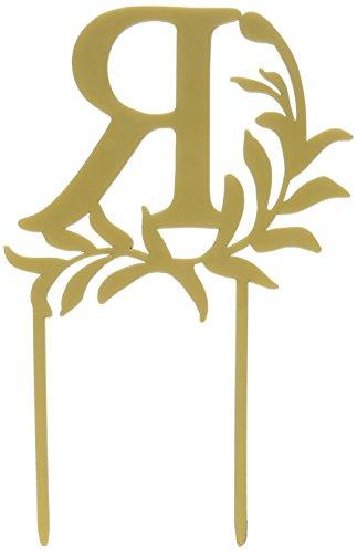 Weddingstar Letter R Modern Fairy Tale Monogram Acrylic Cake Topper, Metallic Gold