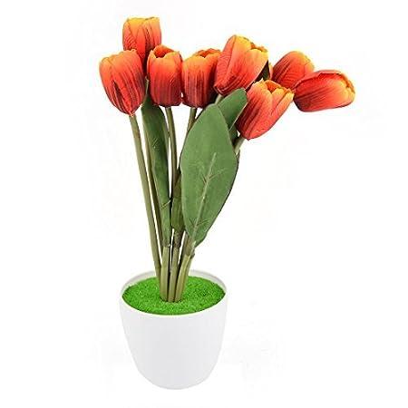 Amazon.com: eDealMax plástico de escritorio DIY de la decoración de Los tulipanes de la simulación Artificial Rojo Flor: Home & Kitchen