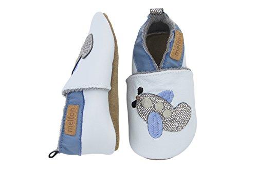 Melton Baby Jungen Leder-Krabbelschuhe Flugzeug Krabbel-& Hausschuhe, Blau (Baby Blue205), 20/21 EU
