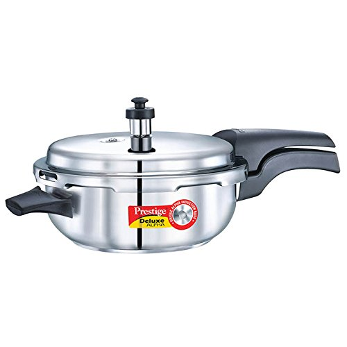 Prestige Deluxe Alpha Induction Base Stainless Steel Senior Pressure Pan with Lid, Small, Silver