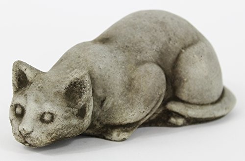 - Fleur de Lis Garden Ornaments LLC Crouching Cat Cement Figurine Collection Concrete Animal Collectible Decor Kitty