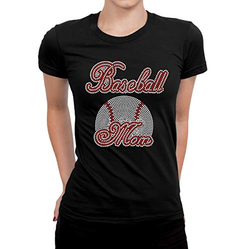Baseball Rhinestones Bling T-Shirts, Baseball Mom Bling Shirt, Black Color (XL)