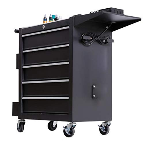 BGROEST Maintenance Tool Cart Container Equipment Cart Tool Cart With Drawer Tattoo Workbench Workshop Tool Tin Cabinet Multifunctional Auto Repair Tool Trolley (Color : Black, Size : 62x33x74cm)
