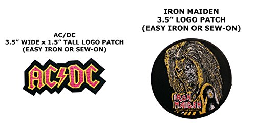 2 PCS AC/DC & Iron Maiden Music Theme DIY Iron / Sew-on Decorative Applique - Costume Diy Gun Top