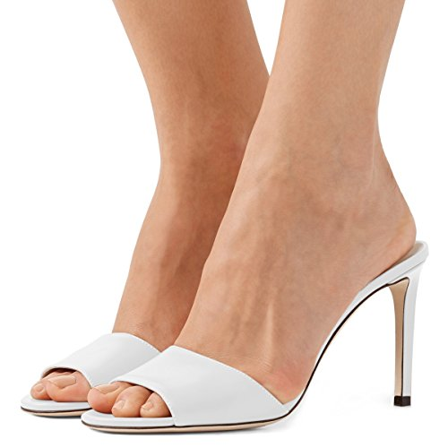 Fsj Femmes Occasionnels Peep Toe Mule Sandales Talons Hauts Talons Soirée Chaussures Taille 4-15 Us Blanc