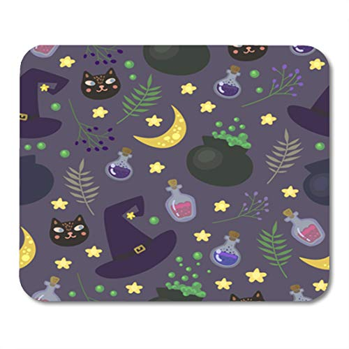 Semtomn Gaming Mouse Pad Green Pattern Magic in Cartoon Post for Halloween Purple 9.5