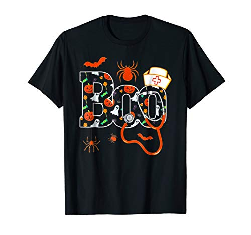 Boo halloween shirt with spiders and witch nurse -