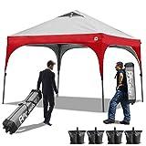 ABCCANOPY Pop up Canopy Beach Canopy 10'x10' Bonus Backpack Carry Bag+4 Weight Bags+4 x Sandbags, 4 x Ropes&4 x Stakes