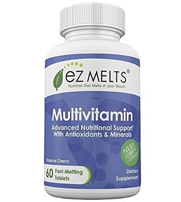 EZ Melts Multivitamin, Dissolving Vitamins, Zero Sugar, Natural Cherry Flavor, GMO-Free Fast Melting Tablets, Gluten-Free Chewable Supplement