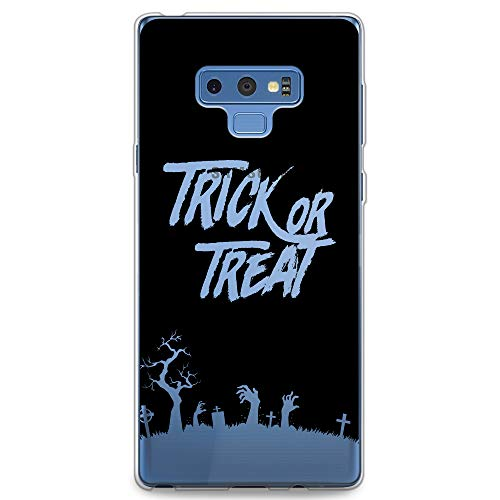 CasesByLorraine Samsung Note 9 Case, Halloween Trick or Treat Clear Transparent Case Flexible TPU Soft Gel Protective Cover for Samsung Galaxy Note 9 (P109)