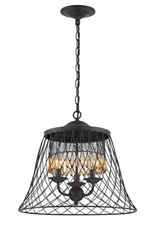 (Varaluz Madelyn 3 Light Ceiling Lighting , Forged Iron With Vintage Amber Crystal)