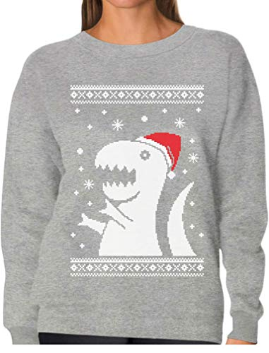 Big Trex Santa Ugly Christmas Sweater - Funny Xmas Women Sweatshirt Large Gray