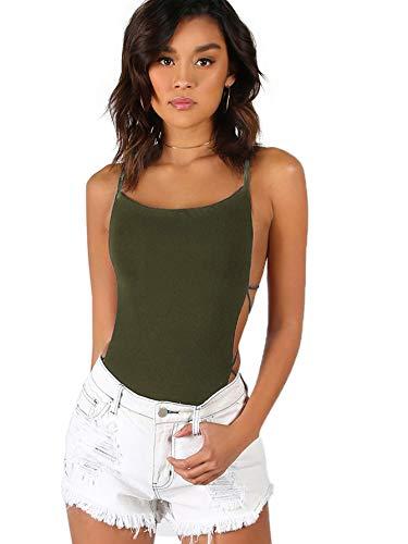 (Verdusa Women's Sleeveless Scoop Neck Strappy Backless Bodysuit Olive S)