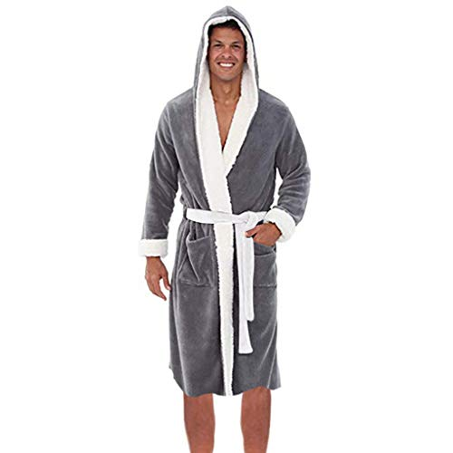 (Realdo Mens Fleece Robe with Hood, Men's Warm Solid Color Robe Hooded Belt Bathrobe)