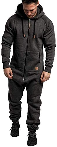 Lucaso 冬物 メンズ ジャンプスーツ オーバーオール 無地 前開き ジップアップ フード付き オールインワン パジャマ おもしろ おしゃれ 大きいサイズ シンプル 防寒着 暖かい 保温 部屋着 ルームウェア 着る毛布 忘年会 演出服 ダメ着