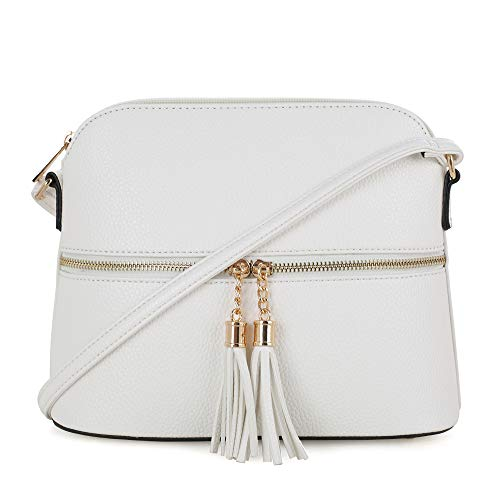 White Leather Handbag Purse - SG SUGU Lightweight Medium Dome Crossbody Bag with Tassel | Zipper Pocket | Adjustable Strap (White)