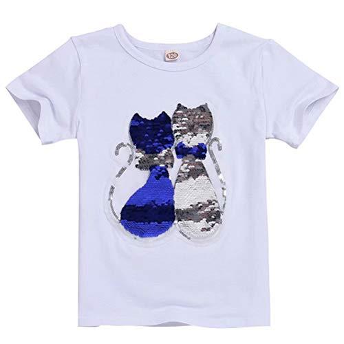 Tsyllyp Girls Children Cats Magic Flip Sequin T-Shirt Cotton Crew Casual (Sequin Cat Costumes)