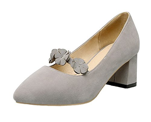 Closed Kitten On Round Toe Heels Pull Gray Shoes Pumps Women's Solid AllhqFashion Frosted nqg8xtwX