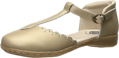 Adjustable Buckle Jane Mary (Livie & Luca Girl's Pearl Shimmer Fresca Scalloped Leather Trim T-Strap Adjustable Buckle Mary Jane Flat Shoe 1 M US Little Kid)