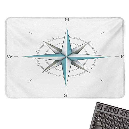 Compasscomputer Mouse padAntique Wind Rose Diagram for Cardinal Directions Axis of Earth IllustrationBlack Cloth Mousepad 15.7