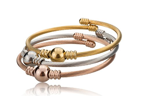 Slv Gld - [378-0004-B-SLV/GLD/RGLD] Stainless Steel 3-Tone Twisted Cable Cuff Bangle Set