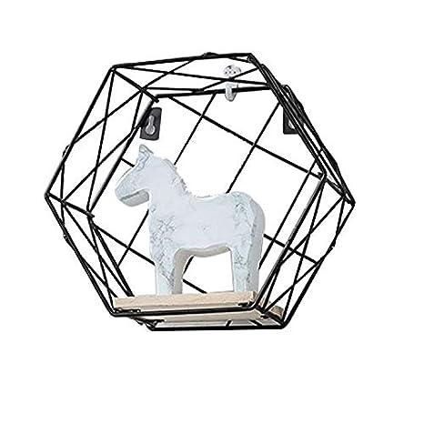 Amazon Com Shelves Industrial Wall Mounted Floating Hexagon Metal