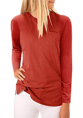 - Mafulus Womens Long Sleeve Crew Neck Tunic Tops Casual Loose Fit T Shirts with Pockets