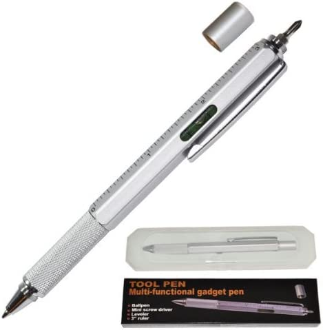 Multi-Functional Pen Satin Silver 5.75 Tool Ballpoint Pen
