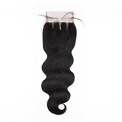 Sedittyhair Brazilian Lace Closure Human Hair Body Wave Closure 4x4 Three Part Top Closure Bleached Knots With Baby Hair - 12 inches by sedittyhair