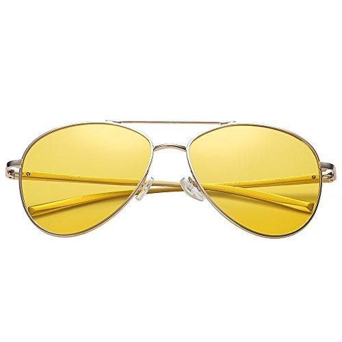 Polarspex Classic Men and Women Polarized Flex Hinge Aluminum Aviator Sunglasses Aluminum Gold | Polarized Night Driving